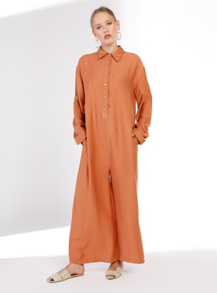 Terra Cotta - Unlined - Point Collar -  - Jumpsuit