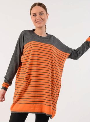 Orange - Stripe - Crew neck - Acrylic -  - Jumper