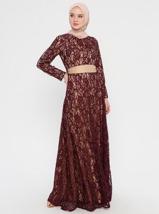 Plum - Nude - Fully Lined - Crew neck - Muslim Evening Dress