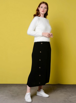 Black - Unlined - Acrylic - Viscose - Skirt