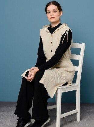 Beige - Unlined - Acrylic -  - Vest