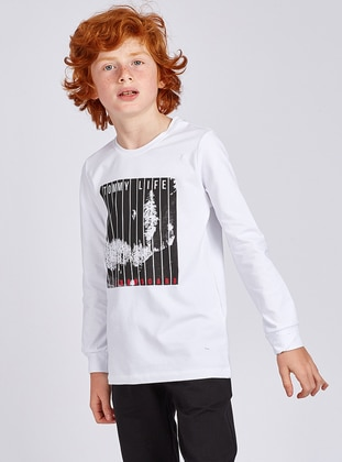 Crew neck -  - Unlined - White - Boys` Sweatshirt
