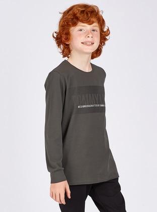 Crew neck -  - Unlined - Khaki - Boys` Sweatshirt