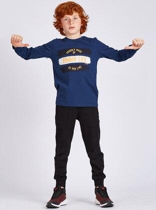 Crew neck -  - Unlined - Indigo - Boys` Sweatshirt