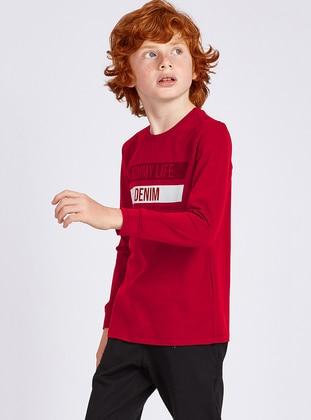 Crew neck -  - Unlined - Red - Boys` Sweatshirt