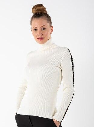 Ecru - Polo neck - Viscose - Jumper