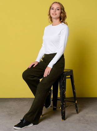 Khaki - Acrylic - Metal Thread - Pants