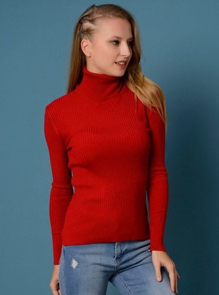 Red - Polo neck - Viscose - Jumper