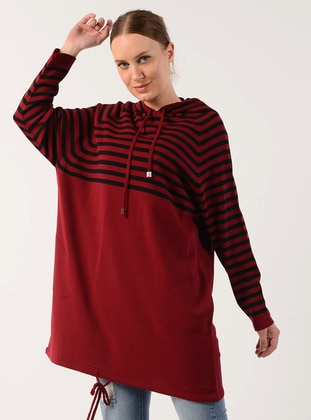 Red - Stripe - Acrylic -  - Tunic
