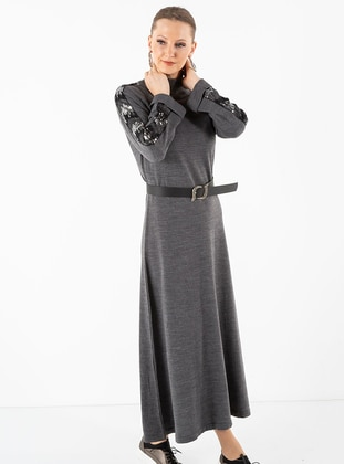 Anthracite - Crew neck - Acrylic -  - Dress