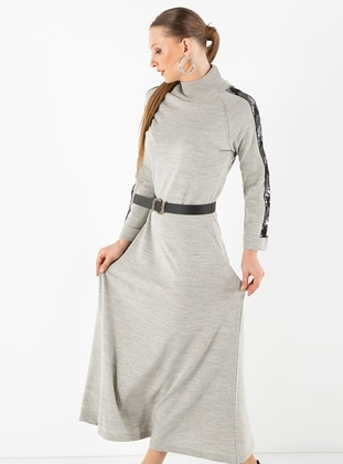 Gray - Crew neck - Acrylic -  - Dress