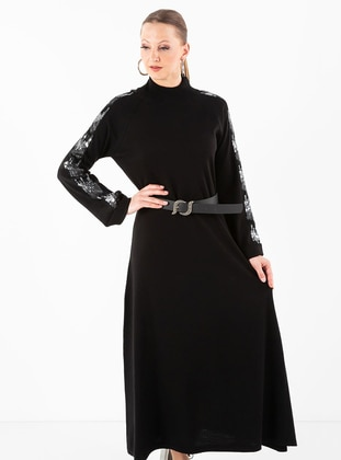 Black - Crew neck - Acrylic -  - Dress