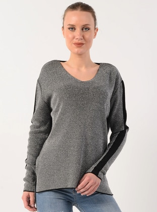 Gray - V neck Collar - Acrylic -  - Jumper