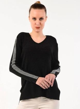Black - V neck Collar - Acrylic -  - Jumper