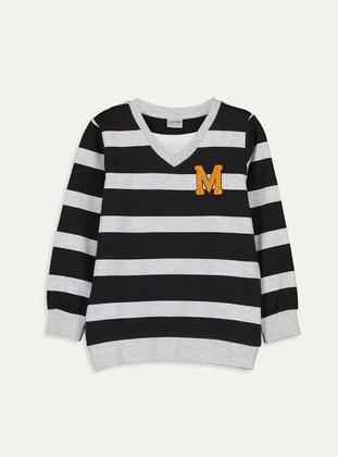 Stripe - V neck Collar - Gray - Boys` T-Shirt