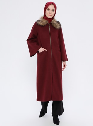 Maroon - Unlined - Crew neck - Rayon - Coat