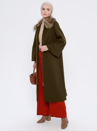 Khaki - Unlined - Crew neck - Rayon - Coat