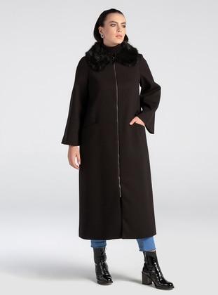 Black - Unlined - Crew neck - Rayon - Coat