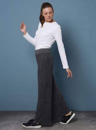 Gray - Acrylic - Metal Thread - Pants