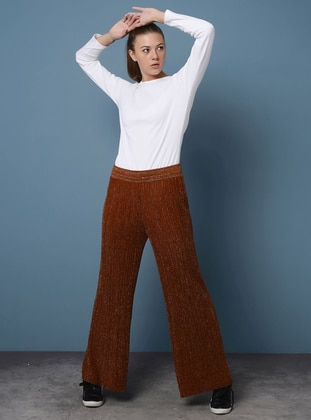 Terra Cotta - Acrylic - Metal Thread - Pants