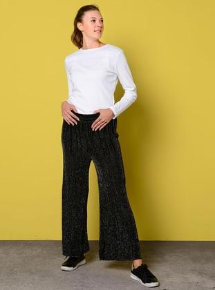 Black - Acrylic - Metal Thread - Pants