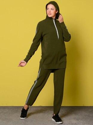 Khaki - Unlined - Acrylic -  - Suit