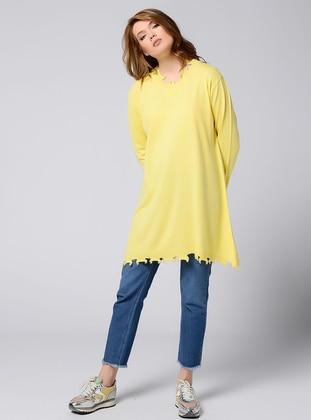 Yellow - Crew neck - Acrylic -  - Tunic
