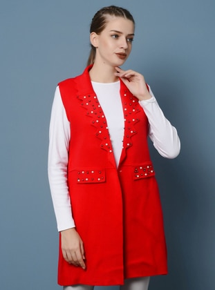 Red - Unlined - Shawl Collar - Acrylic -  - Vest