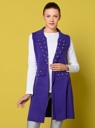 Purple - Unlined - Shawl Collar - Acrylic -  - Vest