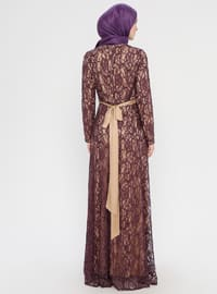 Dusty Rose - Nude - Fully Lined - Crew neck - Muslim Evening Dress