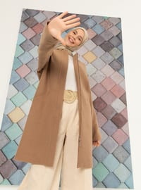 Camel - Fully Lined - Crew neck - Viscose - Coat