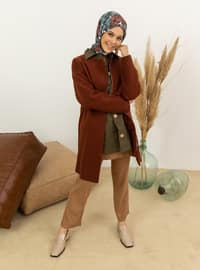 Cinnamon - Fully Lined - Crew neck - Viscose - Coat
