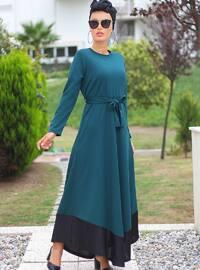Siyah - Zümrüt Yeşili - Yuvarlak yakalı - Astarsız - Elbise