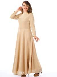 Ecru - Fully Lined - Crew neck - Muslim Evening Dress