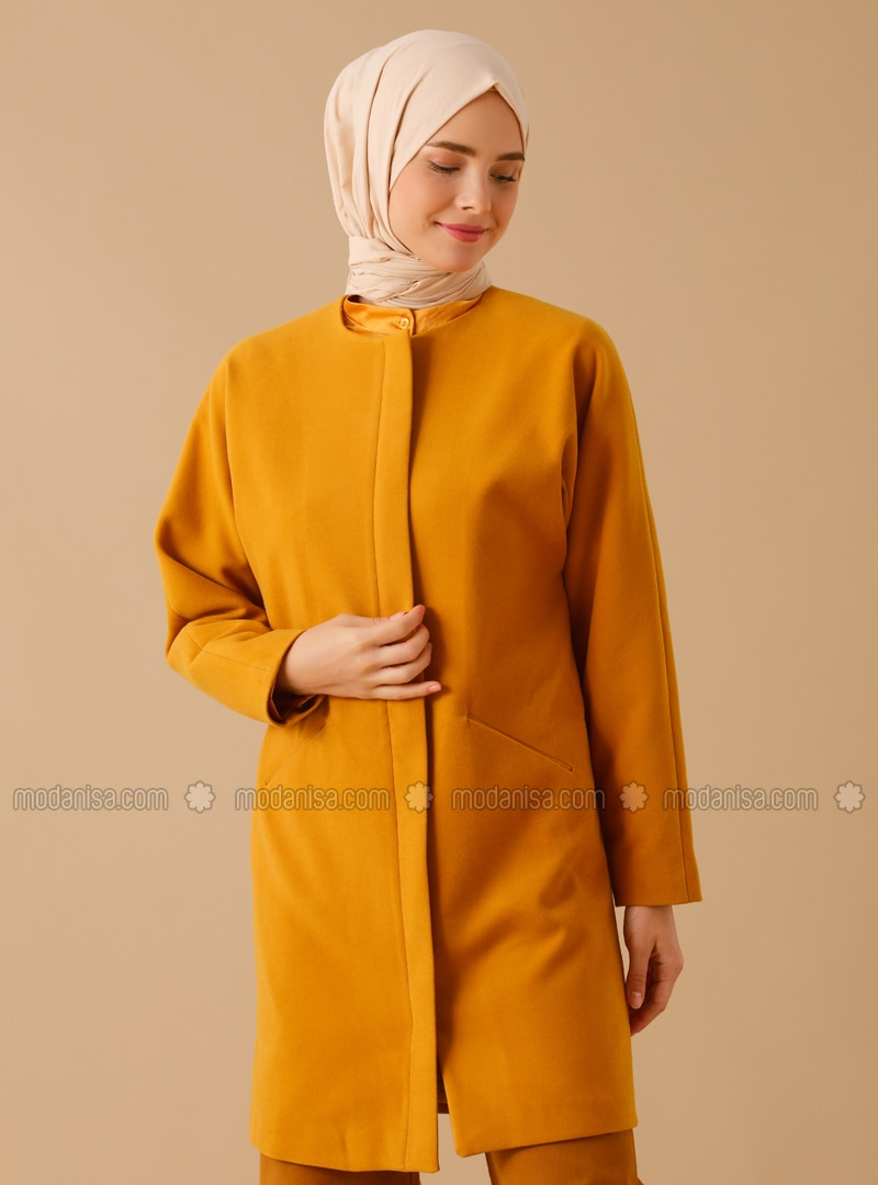 Mustard - Fully Lined - Crew neck - Viscose - Coat