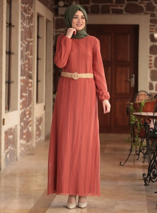 Terra Cotta - Crew neck - Fully Lined -  - Dress
