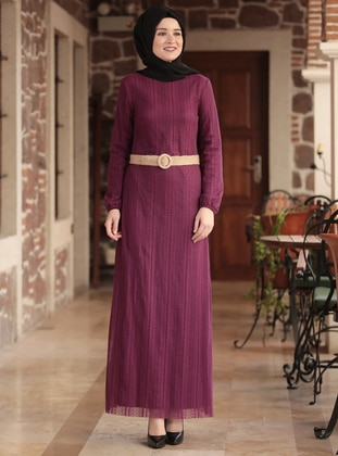 Purple - Crew neck - Fully Lined -  - Dress