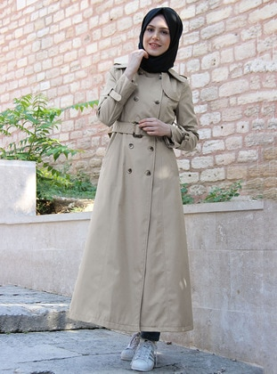 Beige - Fully Lined - Point Collar - Acrylic - Trench Coat
