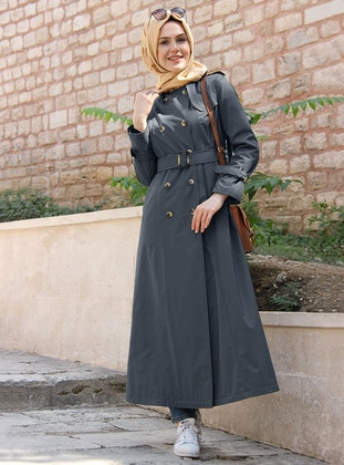 Gray - Fully Lined - Point Collar - Acrylic - Trench Coat