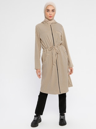 Beige - Unlined - Viscose - Trench Coat