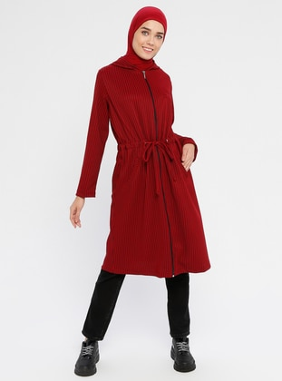 Maroon - Unlined - Viscose - Trench Coat