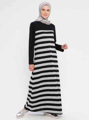 Gray - Black - Stripe - Crew neck - Unlined -  - Dress