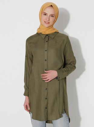 Green - Point Collar - Blouses