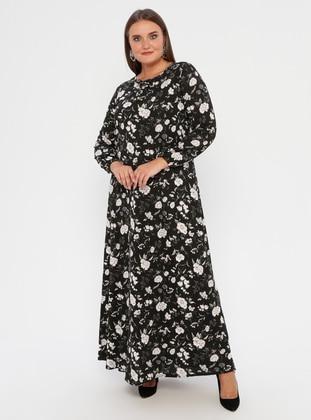 White - Black - Multi - Unlined - Crew neck -  - Plus Size Dress