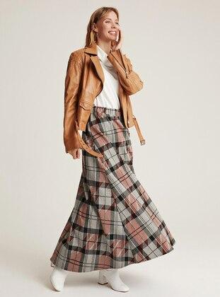Gray - Unlined -  - Wool Blend - Skirt