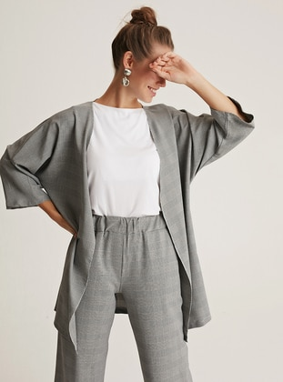 Gray - Plaid - Unlined - Viscose - Suit
