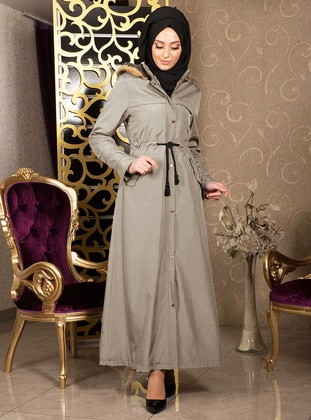 Beige - Unlined - Polo neck - Acrylic - Waterproof - Coat