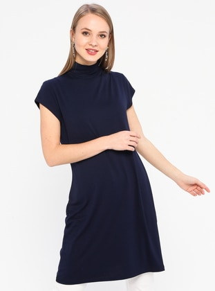 Navy Blue - Polo neck - Viscose - Tunic