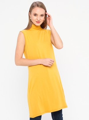 Mustard - Polo neck - Viscose - Tunic