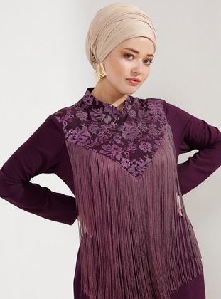 Plum - Fully Lined - Crew neck - Muslim Plus Size Evening Dress